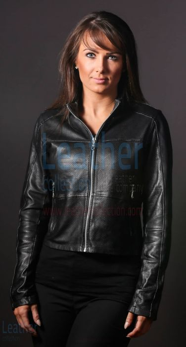 Women LeatherFashion Steel jacket closed front view