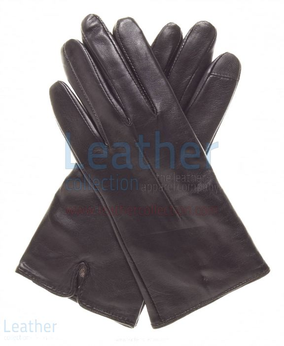 Brown Women's Wool Lined Leather Gloves