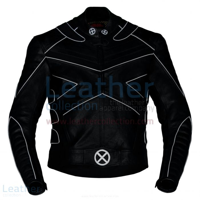 X-Men Leather Jacket with Silver Piping front view