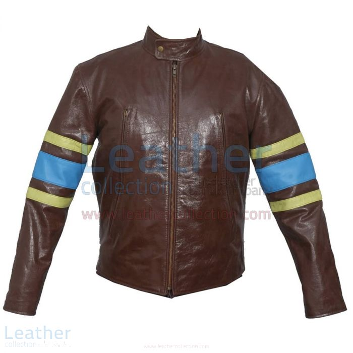 X-MEN Wolverine Origins Biker Leather Jacket front view