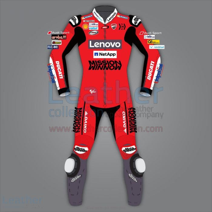 Andrea Dovizioso Ducati Racing Leathers MotoGP 2020 front view