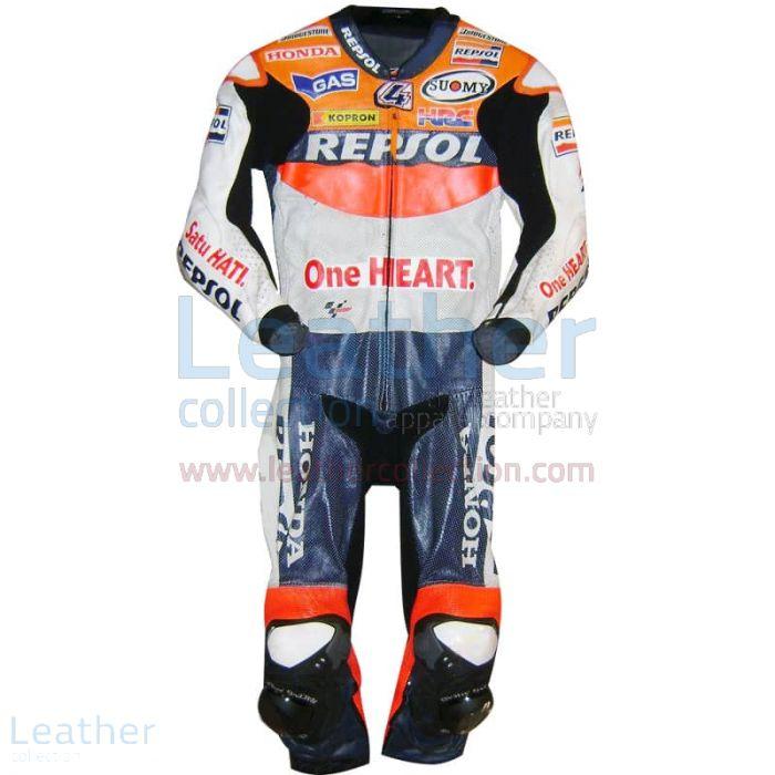 Customize Andrea Dovizioso Repsol Honda 2010 MotoGP Leathers for $899.