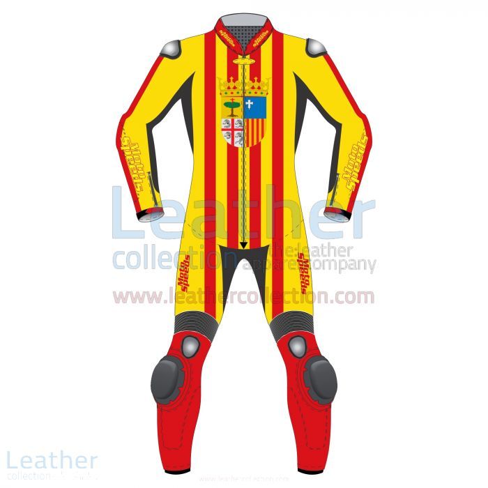 Customize Aragon Flag Leather Moto Suit for $800.00