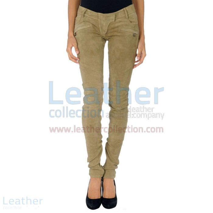 Shop Online Beige Leather Suede Pant Ladies