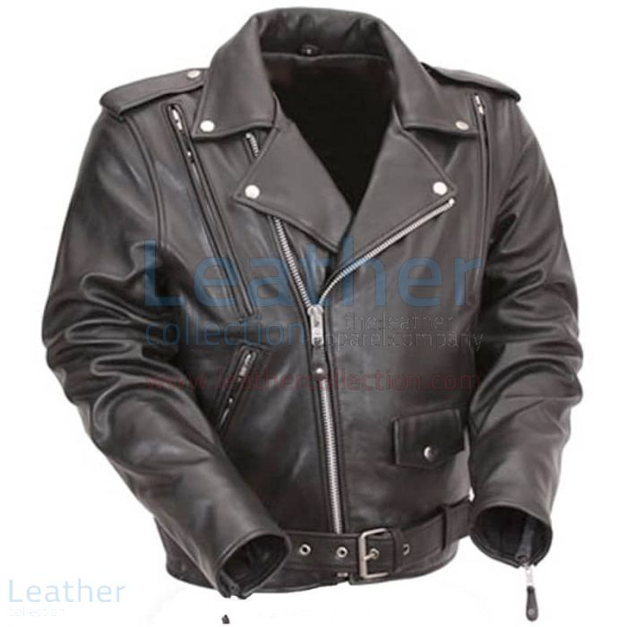Pick up Classic Leather Vented Motorcycle Jacket for ¥22,288.00 in Ja
