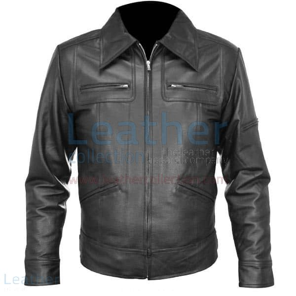 Classic Shirt Style Leather Jacket front view