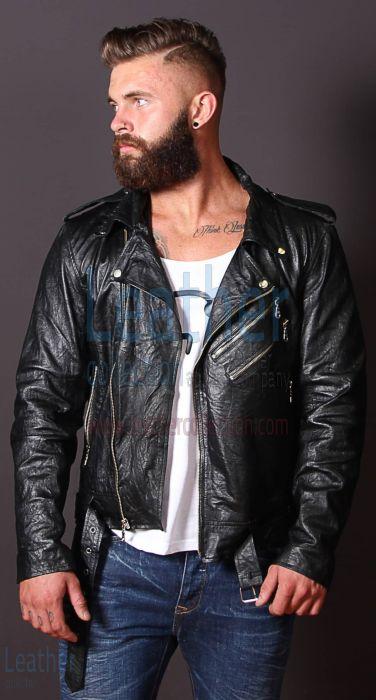 Anspruch Online Mode Männer Falten Lederjacke