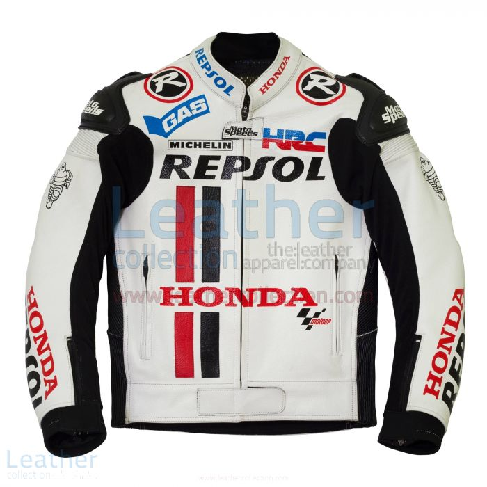 Grab Honda Repsol White Leather Race Jacket for $380.00