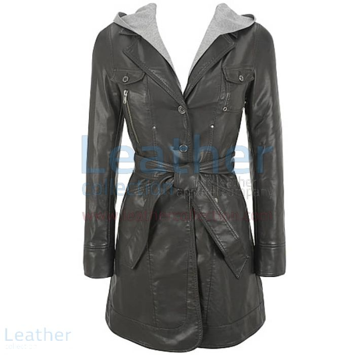 Claim Hooded Leather 3/4 Length Coat Womens for $299.00