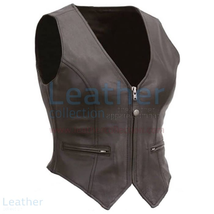 Grab Ladies Motorcycle Leather Zipper Vest for $135.00