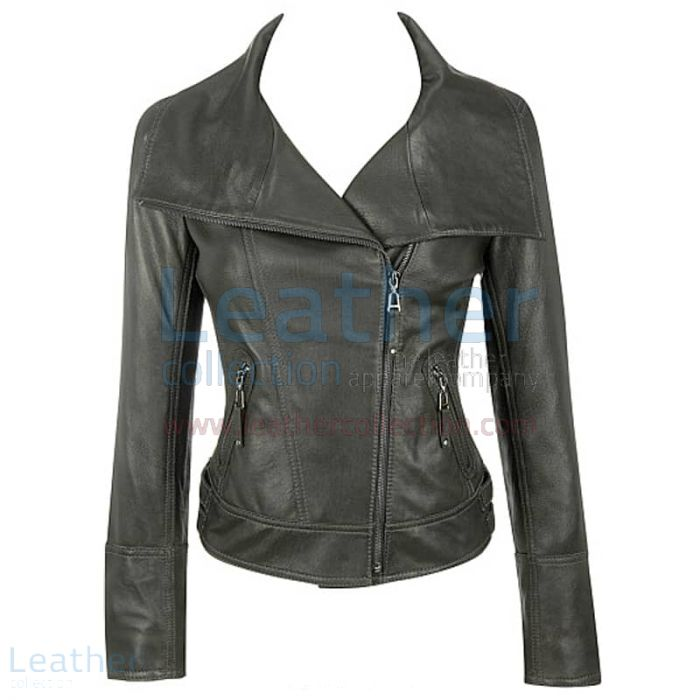 Order Lamb Leather Asymmetrical Black Jacket for CA$345.84 in Canada