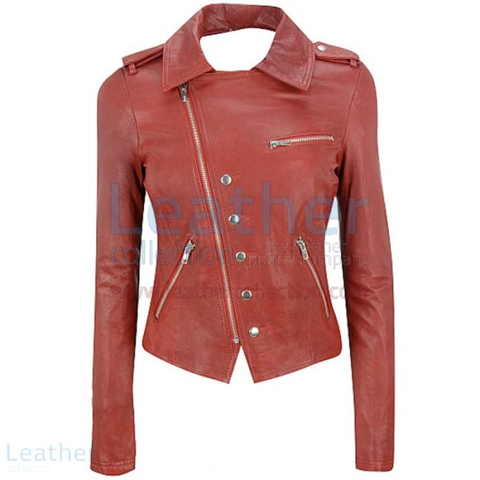 Order Online Cutaway Asymmetrical Leather Jacket Womens for $199.00