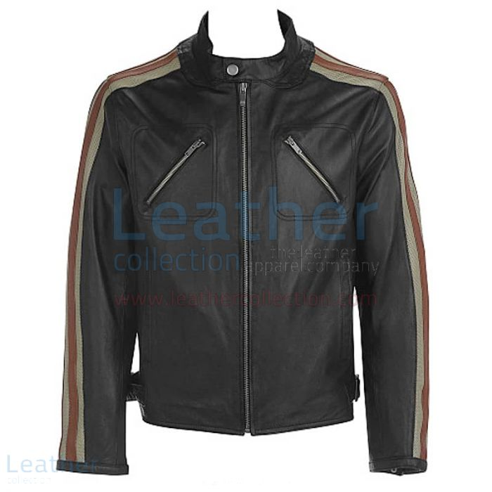 Grab Leather Jacket With Stripes on Sleeves for ¥22,288.00 in Japan
