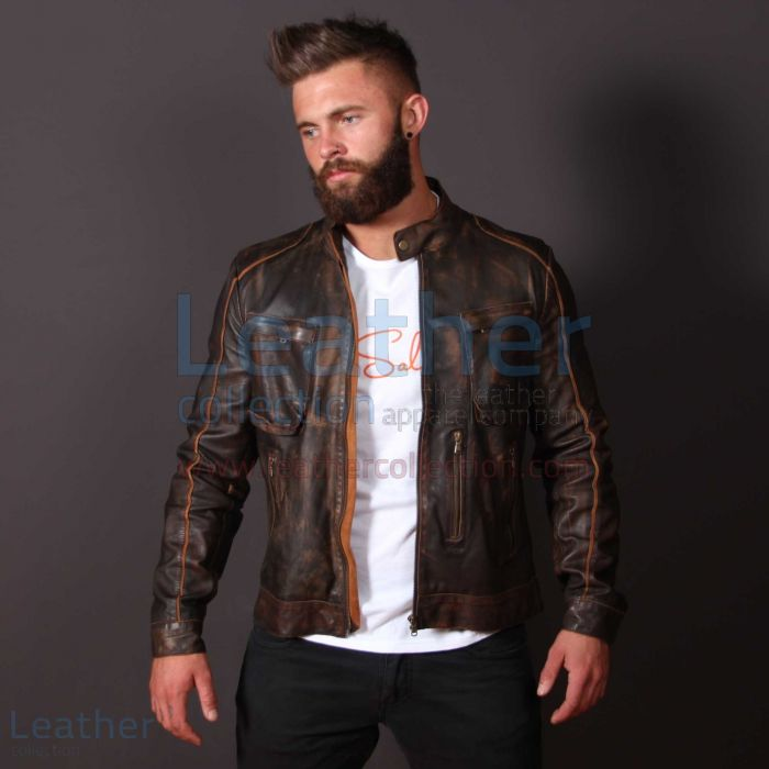 Leather Outlaw Jacket For Men front view