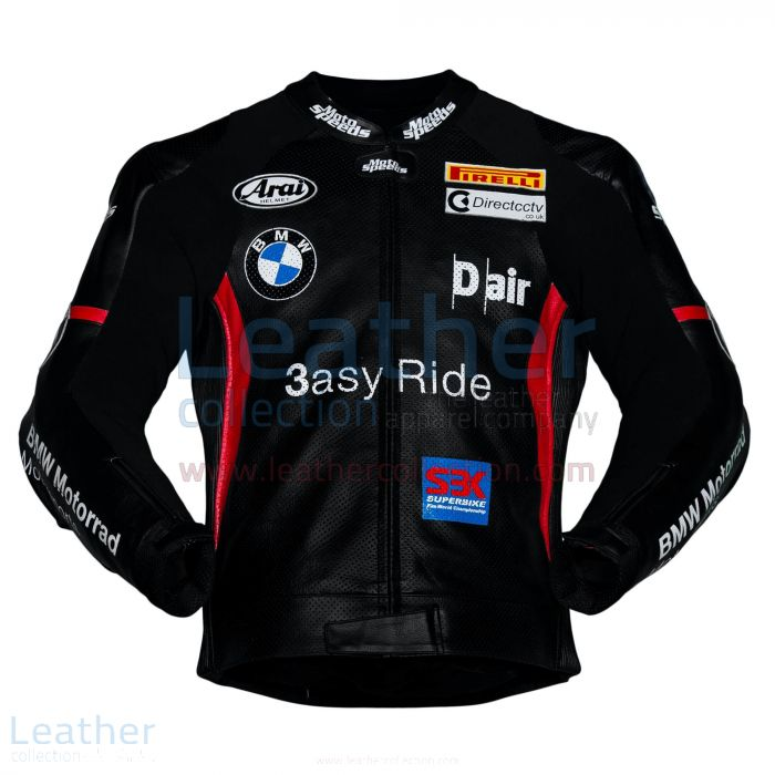 Leon Haslam BMW Motorcycle Jacket Black front view