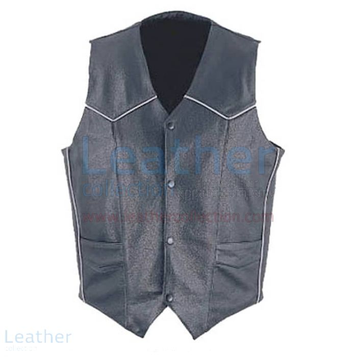 Customize Now Mens Classic Leather White Piping Vest for SEK1,196.80 i