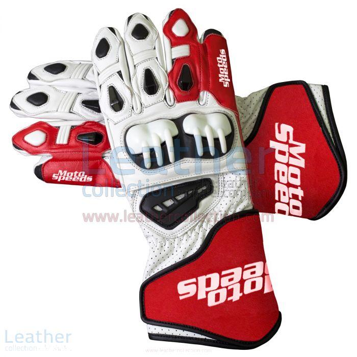 Einkaufen Rot & Weiß Leder Moto Handschuhe
