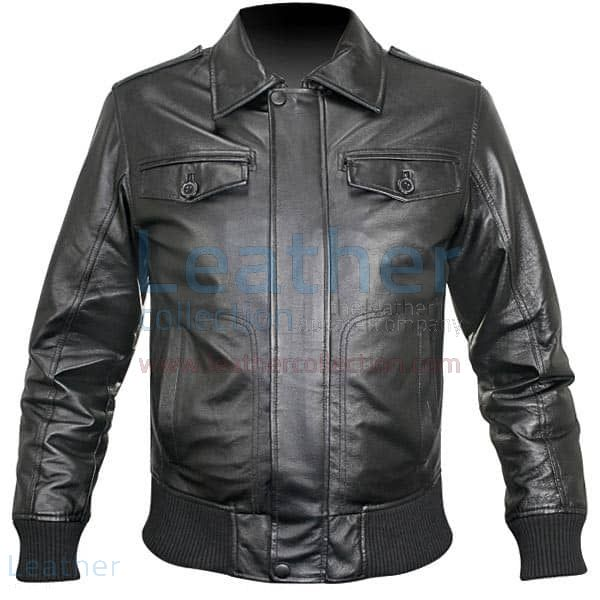 Pick it up Rib Knit Retro Leather Jacket for SEK1,672.00 in Sweden