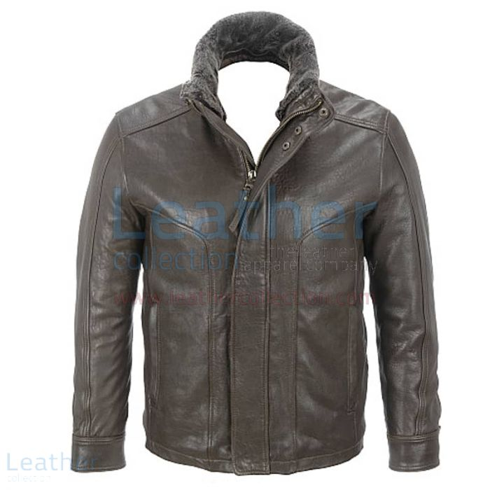 Shop Rugged Leather Jacket with Removable Shearling Collar for $299.00