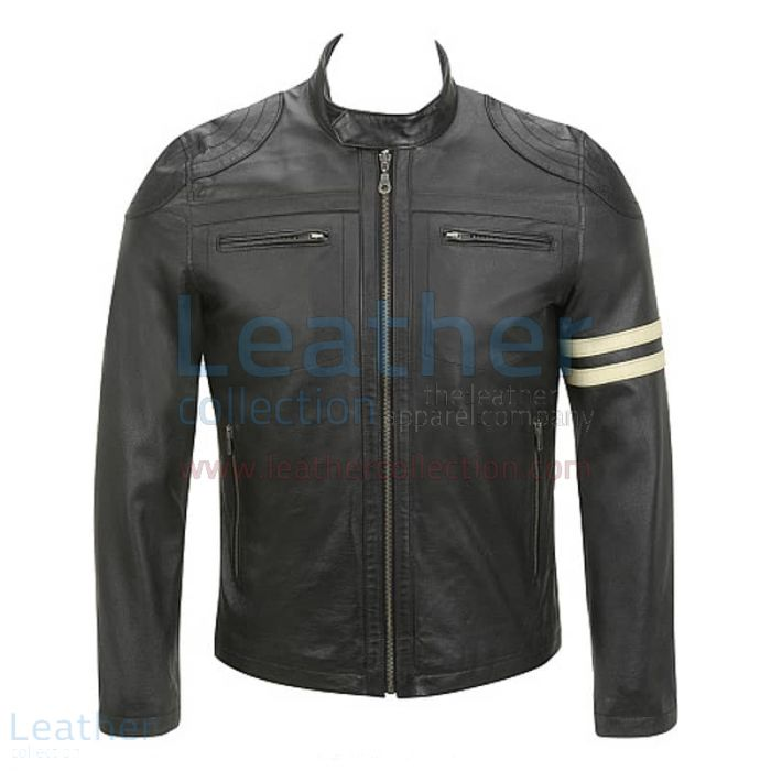 Pick Online Semi Moto Stripes Leather Jacket for ¥22,288.00 in Japan