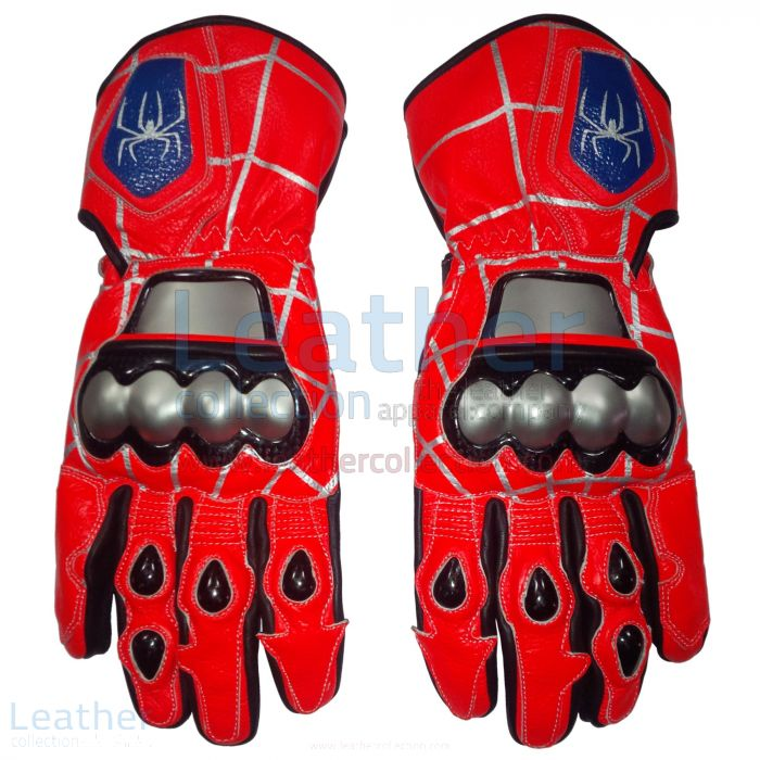 Shop Now Spiderman Leather Motorbike Race Gloves for SEK2,200.00 in Sw