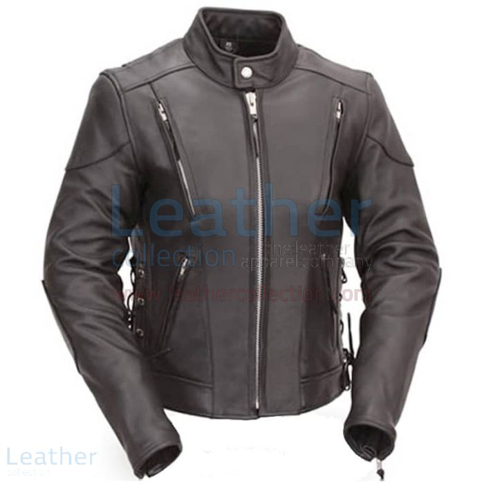 Grab Online Vented Leather Scooter Style Jacket with Side Laces for ¥