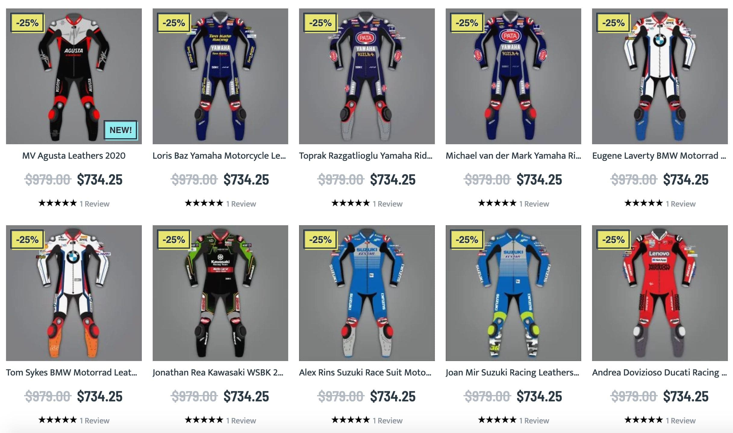 Vast collection of MotoGP 2020 motorcycle racing suits
