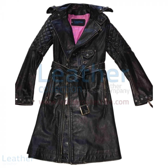 BELTED AND STUDDED VINTAGE COAT WOMENS