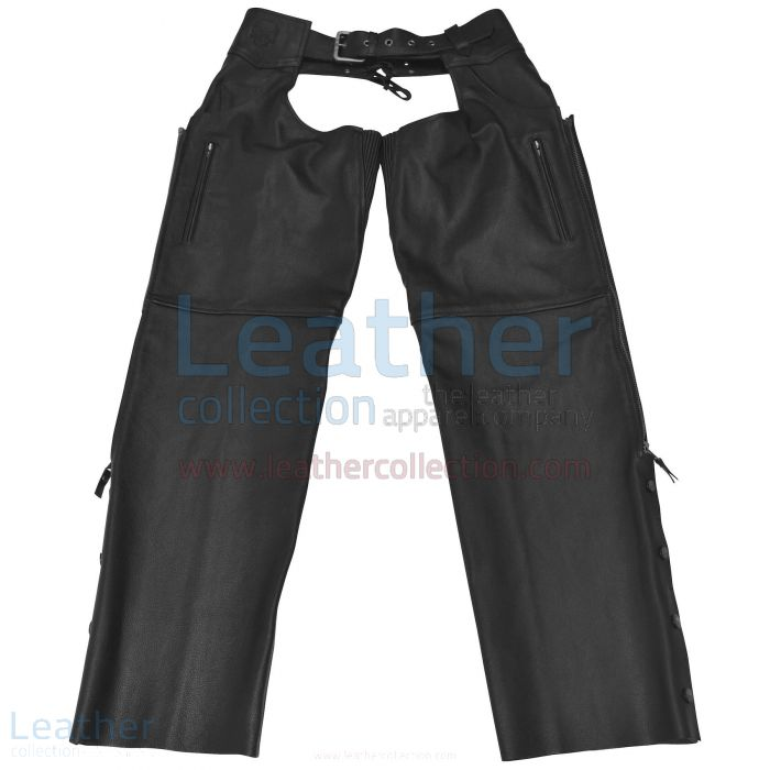 LEATHER BLACK BIKER CHAPS