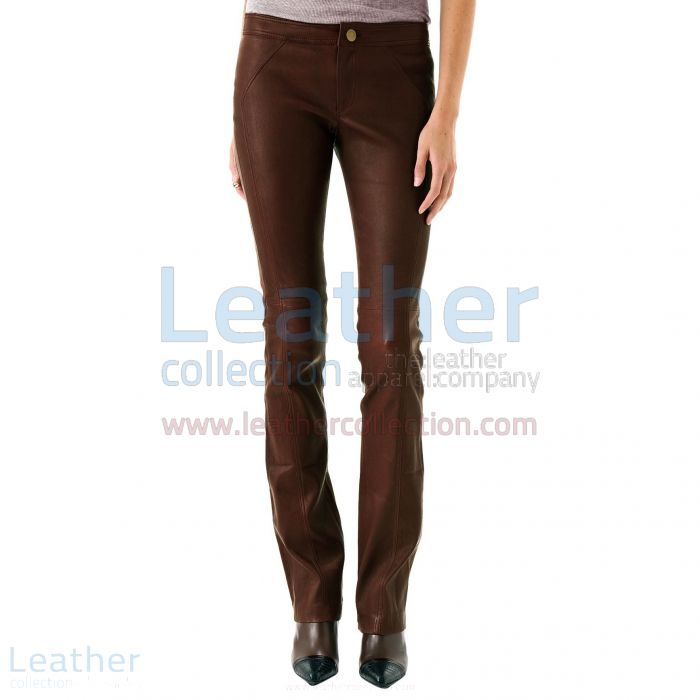 LADIES LEATHER PANTS BROWN