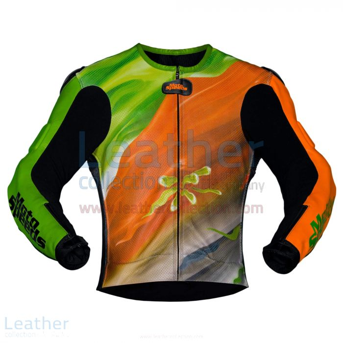 ABSTRACT LEATHER RIDING JACKET
