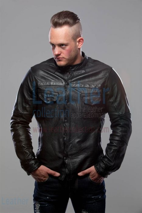 BLACK LEATHER SHIRT JACKET MEN