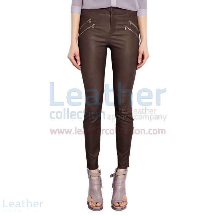 BROWN SKINNY LEATHER PANTS LADIES