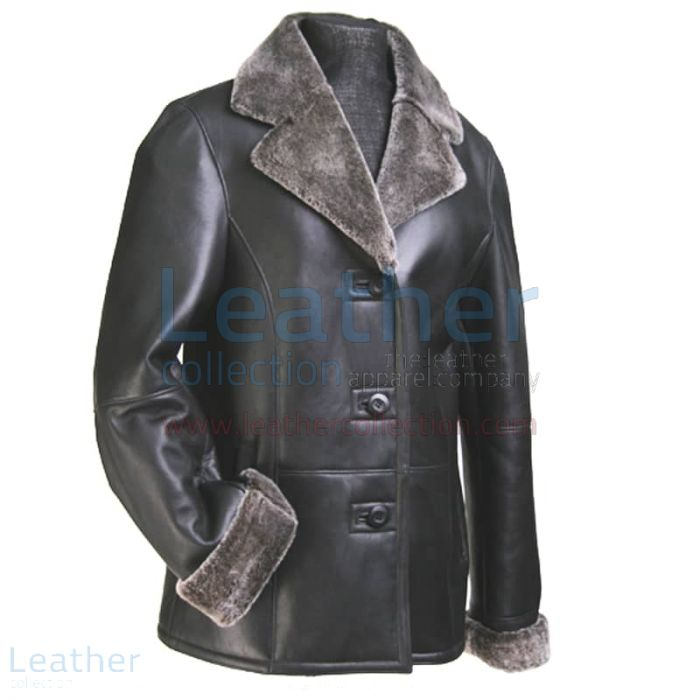 FUR LEATHER BLAZER WOMENS