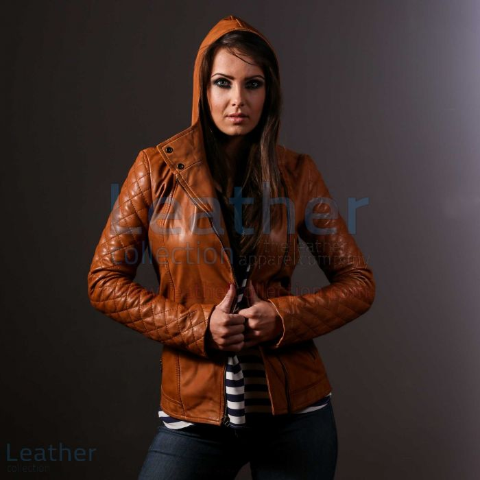 Hooded leather jacket womens