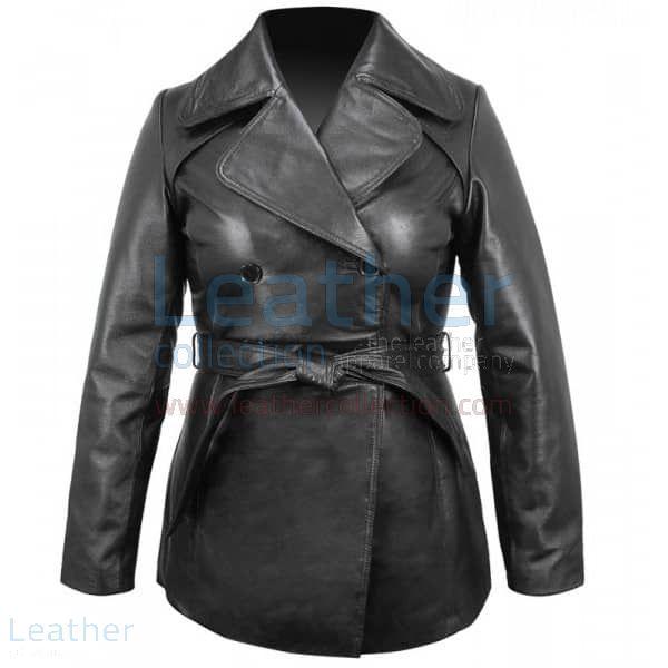 Leather pea coat